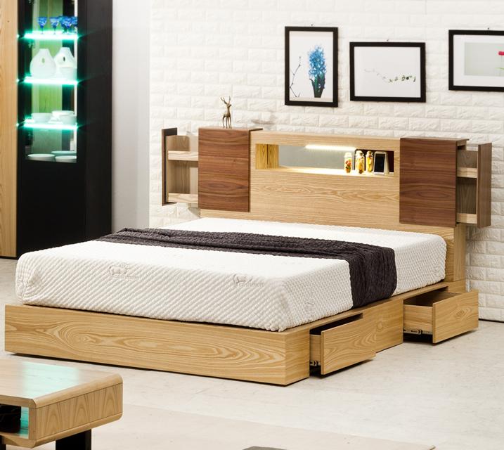슈타인 LED조명 수납침대 퀸(Q) 침대세트 [독립소프트폼 매트리스 포함] / 월 53,800원