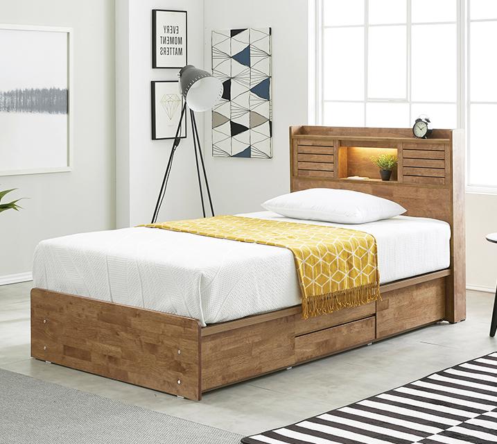 아가타 고무나무 LED 4단 서랍 침대 슈퍼싱글 (SS) 침대세트[독립매트리스포함] / 월 59,800원