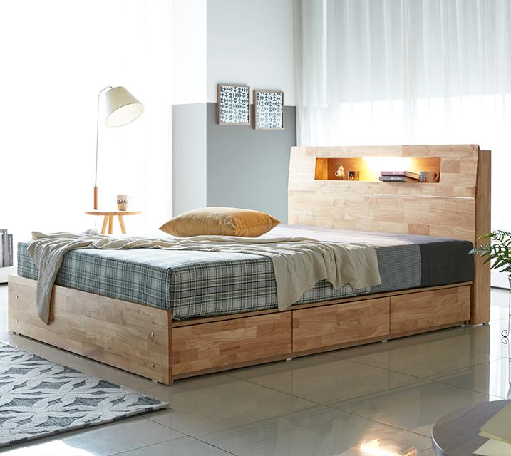 코이 고무나무 LED 3단 서랍 침대 퀸 (Q) [독립소프트폼 매트리스포함] / 월 55,800원