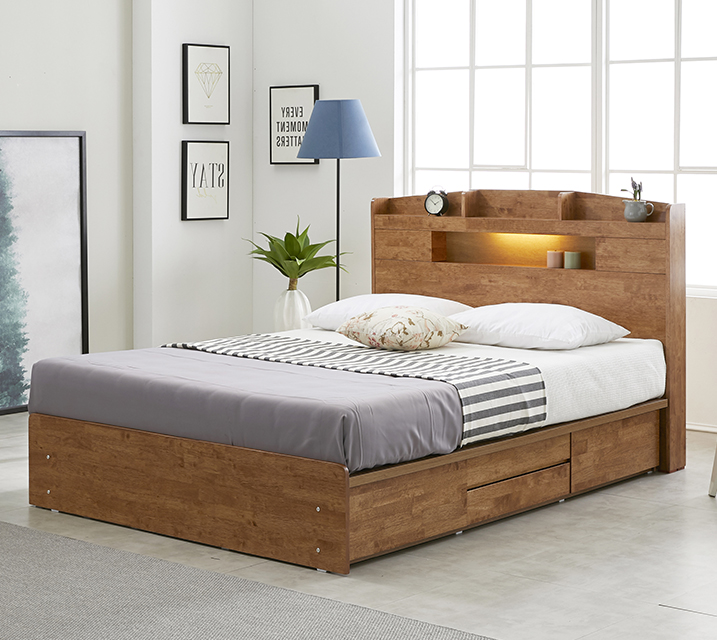 베스 고무나무 LED 4단 서랍 침대 퀸 (Q) [독립소프트폼 매트리스 포함] / 월 57,800원