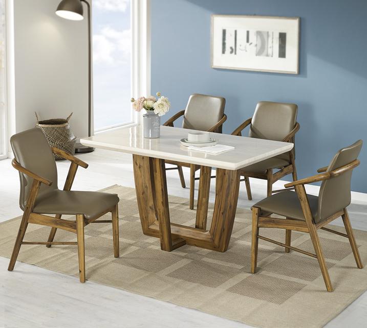 베르나 4인 대리석 4인 식탁 세트 (의자형 / 의자4ea) / 월 39,800원