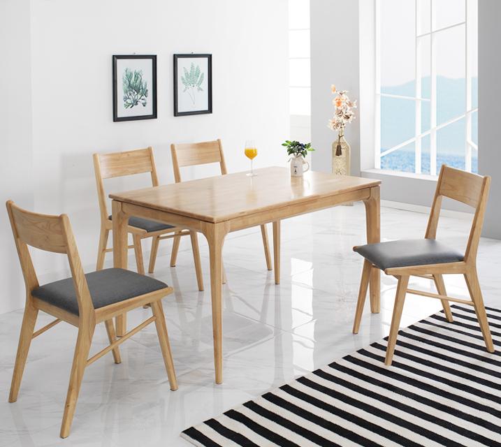 그레텔 고무나무 원목 4인 식탁 세트 (벤치형 / 의자2ea+4인벤치)  / 월 23,800원