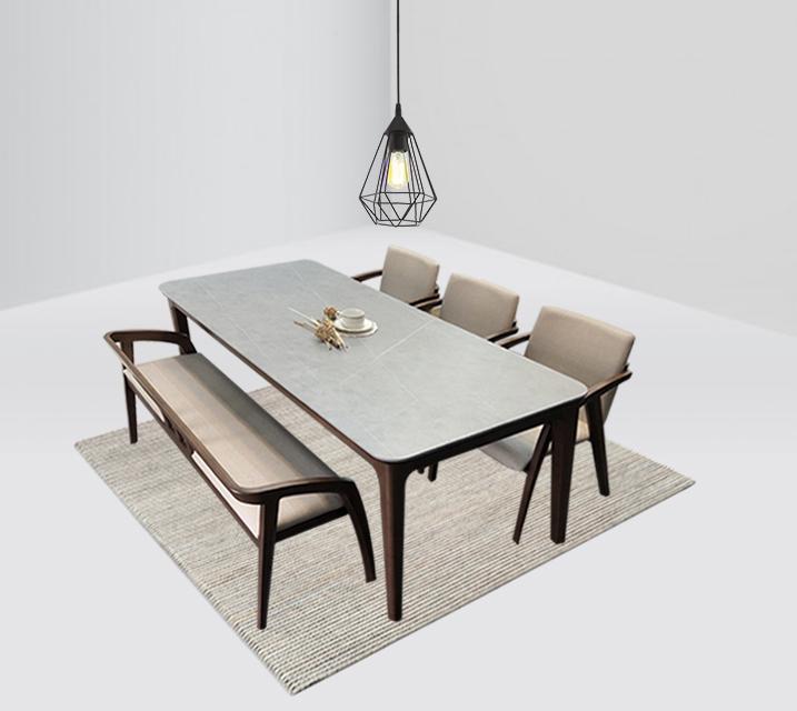 램지 4인 벤치형 세라믹 식탁 세트  / 월 57,800원