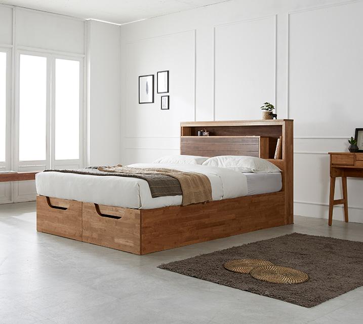 리썸 고무나무 크로코 리프트업 침대(Q) + 독립소프트폼 매트리스 포함 (스탬) / 월 65,800원