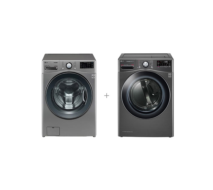 [S] LG 트롬 드럼세탁기 21kg+트롬 트루스팀 건조기 16kg 모던 블랙 스테인리스 F21VDU+RH16KT / 월 94,500 원