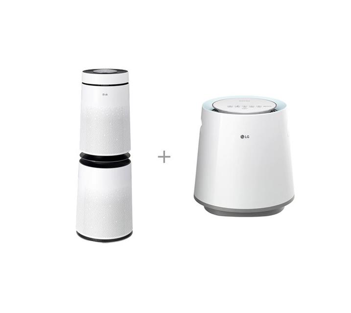 [S] LG 퓨리케어 공기청정기 30평형 크리미스노우+퓨리케어 가습기 5L AS300DWFA+HW500DAS / 월 44,000원