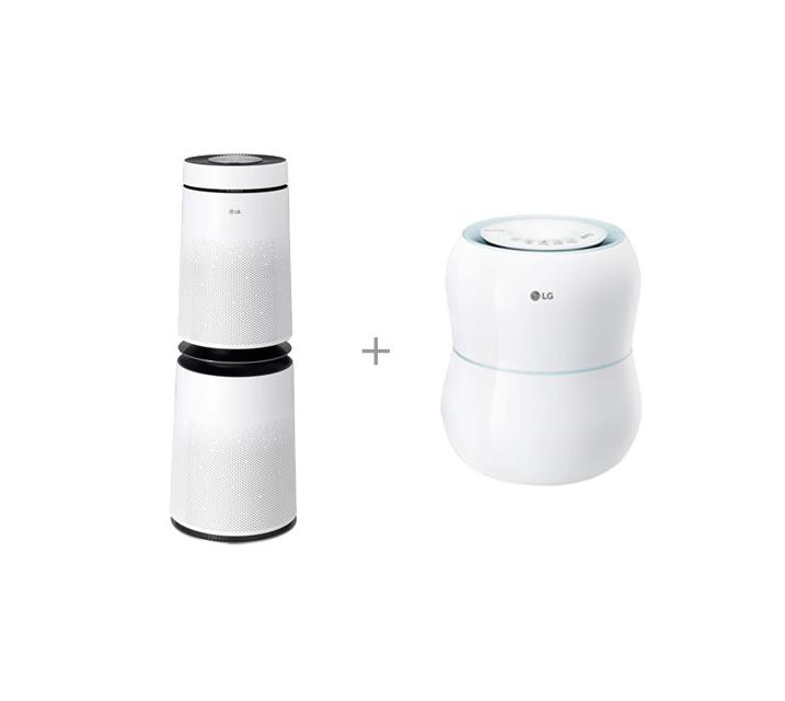 [S] LG 퓨리케어 공기청정기 30평형 크리미스노우+퓨리케어 가습기 3.6L AS300DWFA+HW300BBB / 월 41,500원