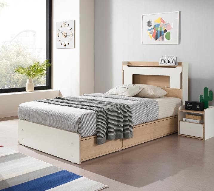 아에리스 LED 3단 수납 침대 슈퍼싱글(SS) 침대세트[독립매트리스포함, 협탁미포함] / 월 49,800원