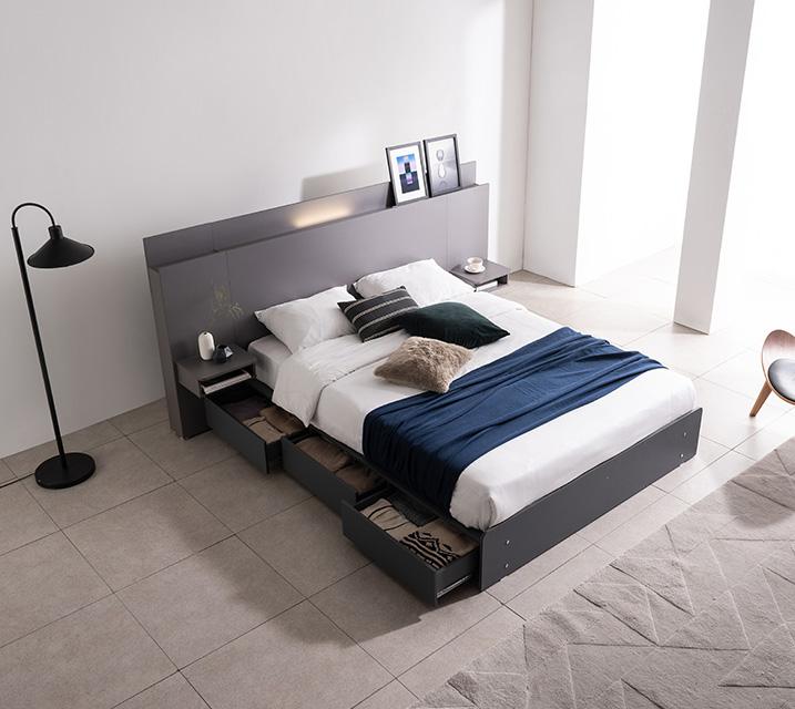 플루멘 LED 3단 수납 침대 슈퍼싱글 (SS) 침대세트 [독립매트리스포함, 협탁미포함] / 월 45,800원