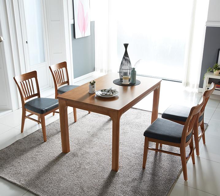 사구나 4인용 원목 의자형 식탁세트(식탁 1ea, 의자 4ea) / 월 51,800원