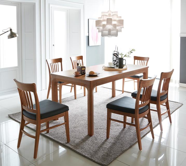 사구나 6인용 원목 의자형 식탁세트(식탁 1ea, 의자 6ea) / 월 59,800원