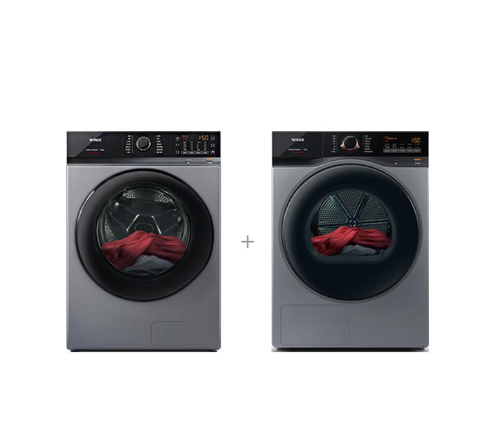 [S] 위닉스 텀블 세탁기 23kg 메탈릭 그레이+텀블 건조기 17kg 메탈릭 그레이 TMWM230-KSK+HGXH170-KSK / 월 52,000원